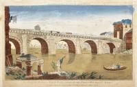 Vue perspective du fameux pont de Remino fabriquée du temps d'Auguste Tibert empereur romain.