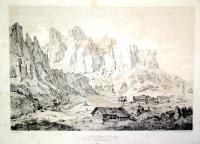 Dolomit Gebirge in Enneberg mit der Ansicht von Colfosco.