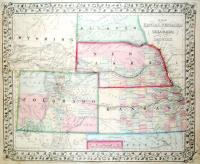 Map of Kansas, Nebraska and Colorado, showing also the southern portion of Dacotah.