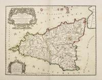 La Sicile divisée en ses trois provinces ou valées scavoir Valle di Demona, Valle di Noto et Valle di Mazara.