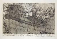 Veduta della porzione di Nave in Travertini, costruita e piantata dinanzi alle sustruzioni che reggevano il tempio di Esculapio nell'Isola Tiberina…