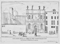Faciata della chiesa del'Ospitaletto. Architettura di Baldasera Lorgena