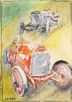 Automobile da corsa rossa e grigia