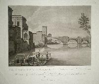 Veduta del Ponte di Castel Vecchio e di una parte del Palazzo Canossa, presa in riva all'Adige a S. Lorenzo.