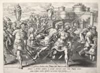 Johanne Medices adolescens a potentiss. Adversario multis armis Romae circumventus se ipsum viriliter defendit et ad orientem deijcit funditque (Giovanni De Medici a Roma)