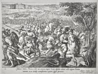Johanne Medices Parmensi bello cum nocturno tempore vicum oppidum adoreri vellet magnum hostium numerum se ex insidijs circumfluentem, reprimit, fugat, prosternit (Giovanni de' Medici si difende da un'imboscata presso Parma).