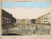 Veduta della piazza di San Giacomo detta merca nuovo di Udine (ripetuto in francese).