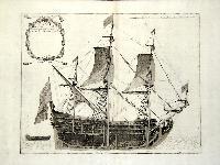 Nave di primo rango. (insieme a:) Nave di CIV cannoni colle sue proportioni tagliata à mezzo per vedere le di lei parti interne.
