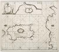 Pas-Caart van de zee kusten van't Eyland Sardinia met Barbaria…tusschen C. De Ferro en C. Bona.