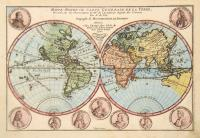 Set of world and continents (6 maps): Mappe – Monde ou carte generale de la terre; Mappe – monde ou carte universelle; L'Europe; L'Amerique; L'Asie; L'Afrique.