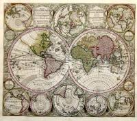 Diversi Globi Terr-Acquei Statione Variante et Visu Intercedente per Coluros Tropicorum, per Ambos Polos, et Particul. Sphaerae Zenith in Planum Delineati Orthographici Propectus.