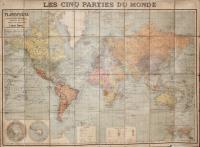 Les cinques parties du monde-Planisphère comprenant  toutes les possessions coloniales chemins de fer lignes de navigation.