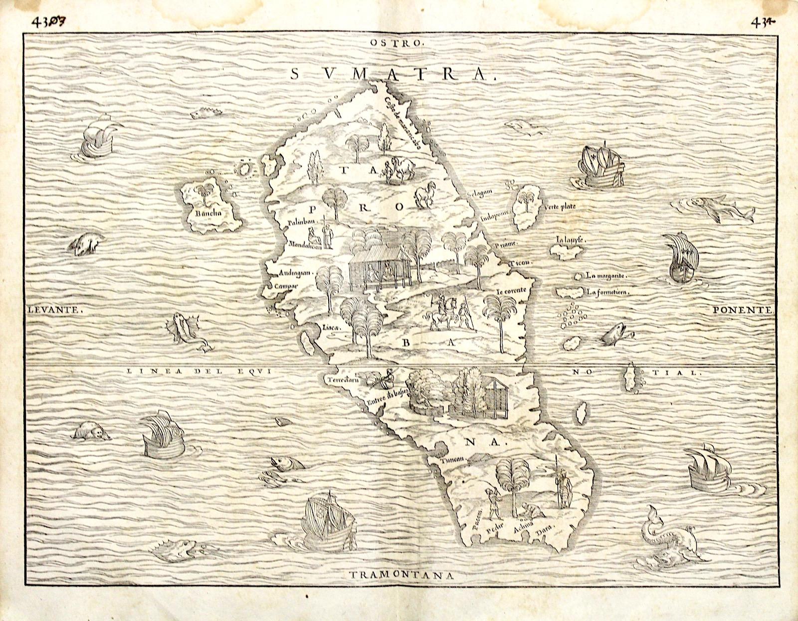 Map Of Upper Asia.Gastaldi Giacomo Ramusio Giovanni Battista Sumatra Taprobana