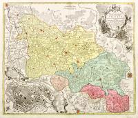 Nova mappa geographica totius ducatus Silesiae tam superioris quam inferioris exhibens XVII minores principatus…