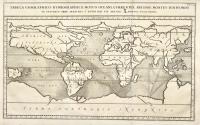 Tabula geographico-hydrographica motus oceani currentes, abyssos, montes igniuomos in universo orbe indicans