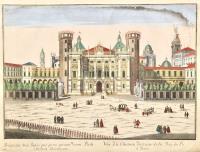 Prospectus arcis regiae qua parte spectat viam Padi Auguste Taurinorum-Vüe du chateau du costé de la rüe du Po' à Turin