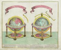 Globus terrestris ad sphaeram obliquam delineatus. Globus coelestis cum astrodictico artificiali iunctus.