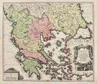 Graecia nova et mare Aegeum f. Archipelagus in qua mappa Macedonia, Albania, Epirus, Thessalia et Morea cum circumjacentibus insulis Corcyra, Cephalonia, Zachyntos..