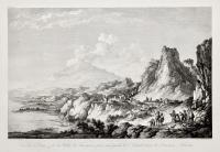 Vue de l'Etna & de la Ville de Taormina prise aux pieds de l'Avant-scene de l'ancien Théàtre