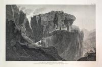 Vue de la Madona della Corona. Les Autrichiens battus à Rivoli, passent le défilé de la Corona sous le feu des Français qui sont emparés des hauteurs