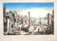 La ville d'Oppido comme elle a été endommagée mais non pas entierement detruite par le terrible tremblement de terre le 5 Fevrier 1783 la plus part des villes de la calabre ulteriere…