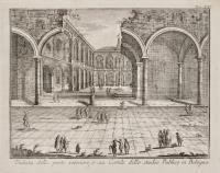Veduta della parte interiore, o sia Cortile dello studio Publico in Bologna.