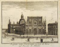 Prospetto della chiesa della Certosa di Pavia nel Ducato di Milano.