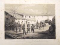 Die Unterredung des Feldmarschalls. Graf Radezky und des Koenigs Victor Emanuel von Piemont, zum Abschluss des Waffenstillstandes nach der Schlacht von Novara in Vignale.