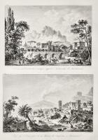 Terrasse ou construction antique appelée Naumachie de Taorminum (Insieme a:) Vue de l'Etna prise de la maison des Augustins à Taormina