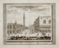 Veduta della Piazza di S. Marco, verso l'Horologio (titolo ripetuto in latino al centro e francese a destra).