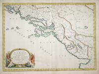 Coste de Dalmacie ou sont remarquees les places qui appartiennent a la Republ.que de Venise, a la Republ.que de Raguse et au Grand Seignr des Turcs.