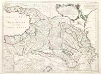 Carte de la Géorgie et des pays situés entre la mer Noire et la mer Caspienne.