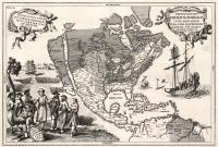 Repraesentatio Americae borealis cuius provinciae vera fide illuminatae umbram non habent, reliquie umbris immersae sunt