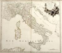 Carte de l'Italie dans laquelle sont tracées les routes des postes