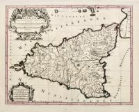 La Sicile divisée en ses trois provinces ou valées sçavoir Valle di Demona, Valle di Noto et Valle di Mazara.