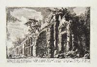 Veduta dei muri che investivano le falde del monte Celio sulle quali era il Ninfeo di Nerone e che adornavano lo stadio di Domiziano. A: speco dell' acqua che girava intorno al Ninfeo. B: luogo occupato dal detto stadio.