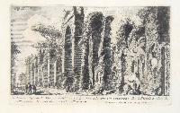 A. avanzo degli archi Neroniani sul monte Celio ov' era la loro terminazione.  B e C: Fistole e Cloache nell' avanzo de' muri del castello dell' acqua.