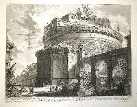 Veduta del Mausoleo d'Elio Adriano (ora chiamato castello S. Angelo) nella parte opposta alla facciata dentro al castello.