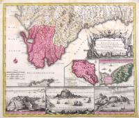 Accurata designatio celebris Freti prope Andalusiae castellum Gibraltar inter in Europam et Africam…