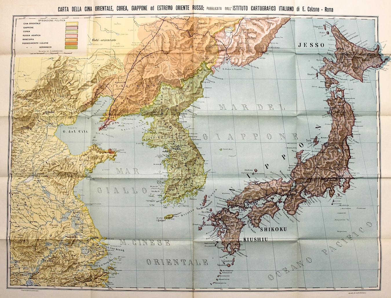 Cartina Geografica Sicilia Sud Orientale.Calzone E Carta Della Cina Orientale Corea Giappone Ed Estremo Oriente Russo