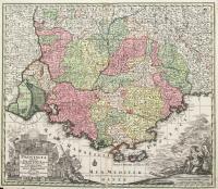 Provincia Gallis La Provence dicta determinate in omnes suas praefecturas cum terries confinibus et alluentib. Maris Mediterraneipartibus cura et caelo.