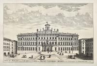Veue du Palais de la Grand Curia au Mont Citorio a Rome. (with) Autre veue en entrant dans la mesme Cour du Palais de la G. Curia au M. Citorio.