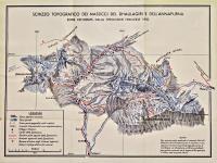 Schizzo topografico dei massicci del Dhaulagiri e dell'Annapurna. Zone esplorate dalla spedizione francese 1950.