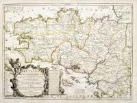 La province ou Duché de BRETAGNE, divisé en deux grandes parties qui sont la haute et la Basse Bretagne, le Gouvernement général de Bretagne, comprenant les lieutenances générales de Bretagne et du Comté Nantois. La lieutenance générale de Bretagne est partagée en Lieutenances de Roy de Haute et de Basse Bretagne qui sont subdivisées en plusieurs Evêchés, dressée sur les Mémoires nouveaux du Sr Tillemon et dédiée à son Altesse Royale Monsieur Fils de France