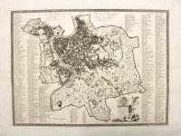 Pianta topografica della citta di Roma divisa in 14 rioni. Roma 1814