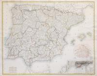 Carte des royaumes d'Espagne et de Portugal où l'on a marqué les Routes de Poste et les limites des diverses provinces et gouvernemens…