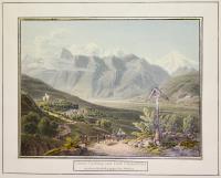 Curburg und Dorf Schluderns im oberen Etschtal gegen den Orteler