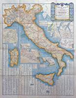 Ferrovie italiane. Carta completa delle reti ferroviarie, tramvie a vapore, navigazione lacuale a vapore e navigazione a vapore marittima